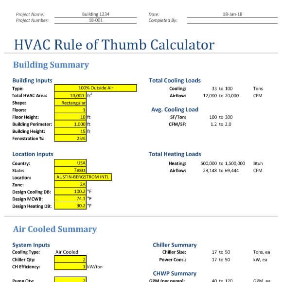Hvac Rule Of Thumb Excel Calculator Design Tools